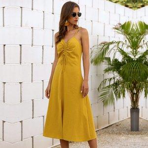 Sleeveless A-line Spaghetti Strap Summer Streetwear Solid Strapless Natural Draped Knee-length Msfilia