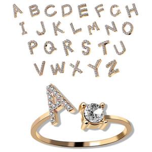 Abierto de la manera Anillo A-letra Z Crystal Rhinestone iniciales del alfabeto Anillos Anillos Anillo de plata Anillo ajustable de oro para la joyería del partido regalo de las mujeres