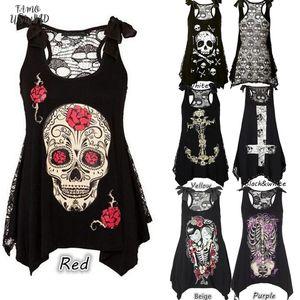 Hotsale Summer Plus Size Cap Sleeve New Women T Shirt Sexy Skull Print Sleeveless Tee Shirt Lace Hollow Out Black Female Tee