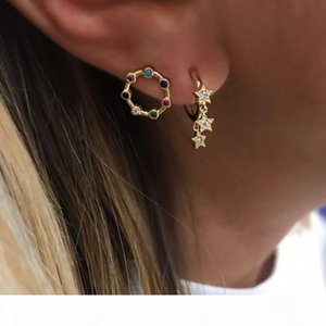 mini circle hoop star charm earring for women 925 sterling silver christmas gift delicat dainty silver jewelry