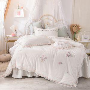 elegant bedding set king queen full size 100% cotton bed skirt set embroidery duvet cover white pink bed flat sheet
