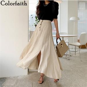 Colorfaith 2020 faldas de las mujeres ocasionales del verano de la vendimia cintura elástico Botones irregular algodón y lino de Split bordea de largo SK8560