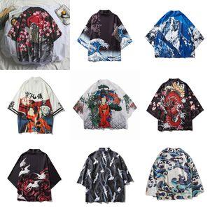 17Colors Oriental Japanese Traditional Costumes Men Fashion Kimono Haori Cardigan for Woman Summer Thin Jacket Beach Wear Cloak T200714