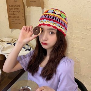 female handmade Four Seasons versatile bag head Bohemia travel Baotou Beret hat cotton-lined hat hollow crochet beret