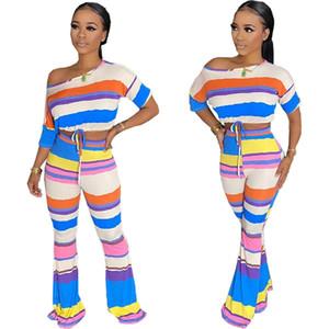 2020 новых женщин Одежда Дешевые Китае оптовый европейских и американских женщин Два Piece Set Sexy подвергается пупок клеш брюки из двух частей полосы
