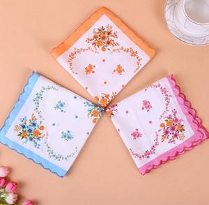 Cotton Handkerchief floreale ricamato donne Fazzoletti Fiore Lady Hankies Mini SquareScarf Boutique tasca tovagliolo libero DHF1180