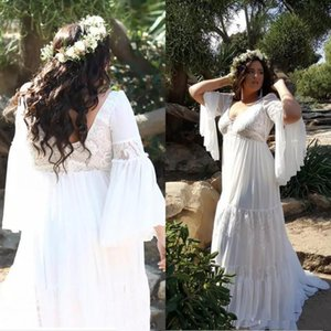 Plus Size Country Boho Wedding Dresses Chiffon A Line Long Sleeve 2020 Beach Bridal Gowns V Neck Backless Sweep Train Robes De Mariee AL6568