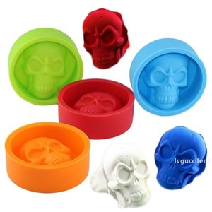 3D Skull Head Silicone Mold Ice Cube Tray Pudding Mold Home Party Fondant Cake Chocolate DIY Ice Maker Household Use Cake Tools