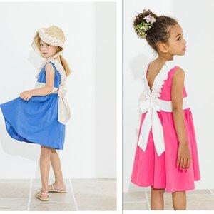 2020 Summer Girls Cotton Dress Kids Sleeveless Beach Dress Cute Bow Baby Girls Dresses Fashion Children Backless Dresses, #8642