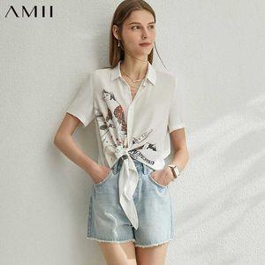 -Breasted único AMII Minimalismo Primavera-Verão Impresso Mulheres Blusa Causal Chiffon lapela Feminino shirt Tops 12080035