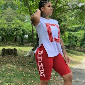 Classic Outfits Women Letter Print Short sleeve T shirt +Tight shorts Suits Tracksuits Two Piece Sets Sports suit summer Jogging suit 7 colo
