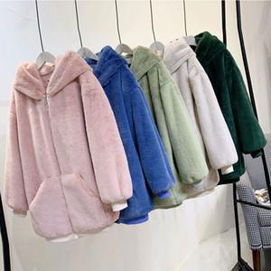 Oversize Hooded Faux Fur Coat Winter jacket Women Fashion Parka Thick Warm winter coat women Female Loose Faux Fur jackets