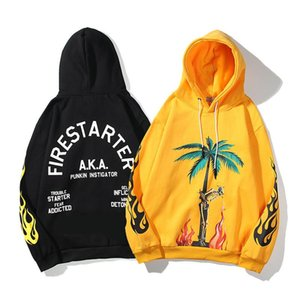 Los nuevos hombres del estilista camiseta básica PA Palms Ángeles del árbol de coco Impreso de manga larga de la camiseta de la calle unisex del hip hop tapas de la manera