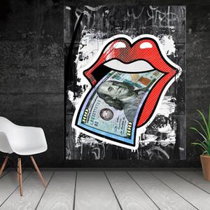 Labios de la mujer creativa con dólar impresión de la lona Pintura Poster Arte de la pared de fotografías para la sala de estar Decoración para el Hogar (No Frame)