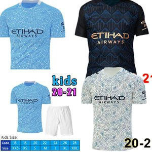 NEW 20 21 STERLING DE BRUYNE KUN AGUERO manchester soccer jersey city 2020 2021 SANE JESUS football shirt men+ kids kit sets uniform home