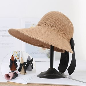 2020 Foldable Summer Beach Straw Hat for Women Brief Sun Hats Sunscreen Chapeu Feminino UV Protection Panama Hat with Bowknot Y200716