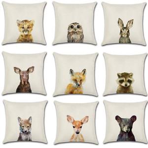 Cute Cartoon Rabbit Printed Cushion Cover Cotton Linen Bear Owl Pillow Case Sofa Decorative Pillowcases Cover funda de almohada