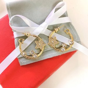 C2038 Fashion 925 silver needle earrings Korean version of fashion classic letter star zircon earrings women's first choice accessorie