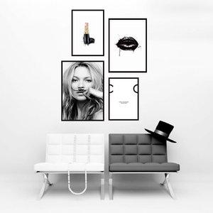 Nordic Tuval Posterler Ve Baskılar Duvar Resimleri İçin Salon Dekoru Boyama Moda Kız Dudak Ruj Wall Art Kanvas