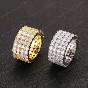 Hip Hop Mens Jewelry Rings Fashion Gold Plated Iced Out Full CZ Diamond Tennis Ring Bling Cubic Zircon Love Ring Wedding