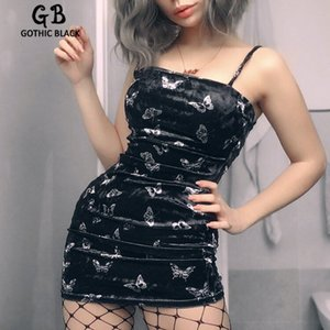 Gothic Black Sexy Women Spaghetti Straps Slash Neck Backless Butterfly Printing Slim Dress Goth Femlae Dark Bodycon Mini Dress