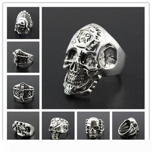 OverSize Gothic Skull Carved Biker Mixed Styles lots Men's Anti-Silver Rings Retro New Jewelry