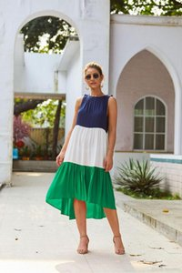 Women Dresses Summer Holidays Woman Casual Irregular Clothing Female Panelled Dress Bohemian Sexy