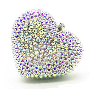 XIYUAN Full Diamond Evening Clutches 2020 Heart Shape New Arrival Women Party Clutch Luxury Crystal Banquet Chain Handbags
