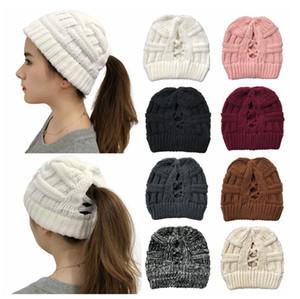 Croix Chapeau Ponytail européenne et Prêle Knit Chapeaux américain Mme Twisted Laine Chapeaux et chapeaux d'automne hiver chaud Mesdames EEA2062