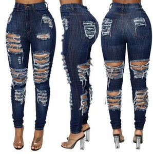 Jeans Mode Washed Pantalons Skinny Jeans Crayon long Ripped Casual Vêtements femme New Street Style Femmes