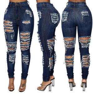 Jeans Moda lavati Ripped Skinny jeans lunghi dei pantaloni della matita casuali Nuovo abbigliamento donna a Street Style Donne