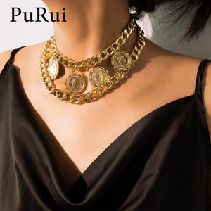 Purui Punk Chunky collier pendentif pompon Monnaie Layered Déclaration chaîne cubaine Lien Collier ras du cou pour femmes Bijoux Fashion