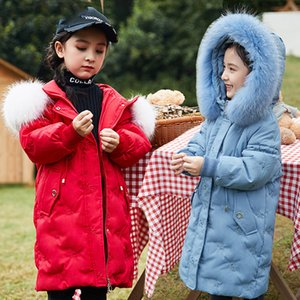 -30 Degree Winter Down Jacket For Girl clothes Embroidery Thicken Children parka Real Fur collar Children Outerwear Kid snowsuit