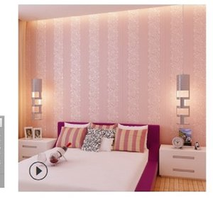 2020 hot sale Self adhesive 3D vertical stripe thickened non-woven wallpaper warm bedroom living room background wall self-adhesive 004