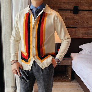 High Quality Sweater Coats Fashion 2020 Long Sleeve Striped Cardigan Men All Match Turn Down Collar Slim Fit Pull Homme 2Colors