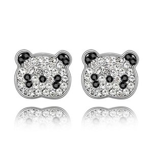 New Women Crystal Cute Panda Earrings Made With Czech Crystals For Ladies Girls Gift Free Shipping