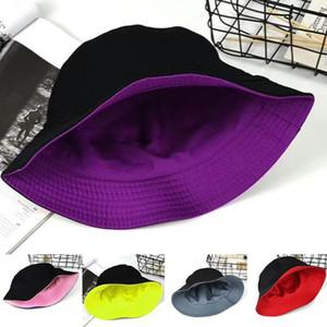 Moda Kadınlar Katı Renk Düz Pamuk Döner Balıkçı Güneş Şapka Kepçe Cap Katlama Tasarım Karşıtı Güneş ışığı Tersinir Kepçe Hat