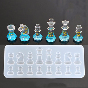 سيليكون قوالب للحصول على الراتنج DIY كلاي راتنجات الايبوكسي الراتنج الدولية للشطرنج الشكل سيليكون للأشعة فوق البنفسجية قلادة قوالب للمجوهرات