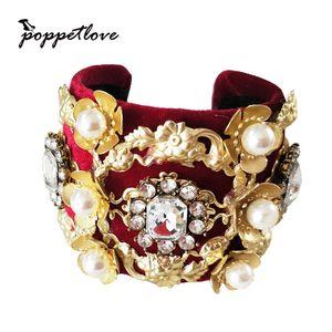 High Quality Women's Luxury Elegant Baroque chain Gold Colors full rhinestone Open bracelet single