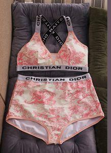 2 couleurs 2020 été Mode écharpe imprimé fleurs Maillots de bain Bikini pour les femmes Lettre maillot de bain sexy Bandage bain une COMBI S-XL