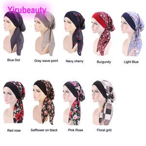 Bayanlar Elastik Saç Bandı Türban Şapka Pastoral Tarzı Pamuk Kemoterapi Şapka Korsan Kapaklar