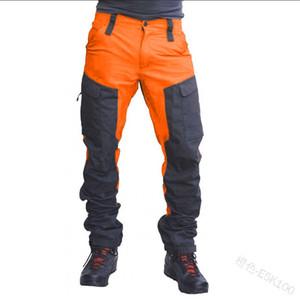 Usar calças dos homens Color Block carga multi bolso aptidão mediana cintura Casual Calças Homme Zipper Rua