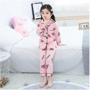2020 Довольно Spring Детский Cothing Дети Пижамы Комплекты Девочки Пижамы Костюм Мультфильм Кардиган Детская одежда Set Хлопка Pijama