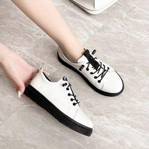 MALEMONKEY mulheres planas ocasional sapatos femininos sapatos da moda Branco 2020 Verão Marca Mulheres de couro liso Feminino 033190