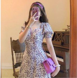 9dF9m x0Vnh 2020 olio estate nuovo collare vestito francese Oil vestito pittura bolla manicotto spaccato pittura quadrato gonna floreale viola