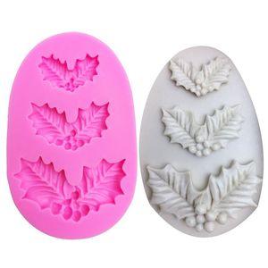 Ferramentas de bolo M1031 Folhas de Natal em forma de molde de silicone para confeitaria fondant de chocolate decoração folha de árvore de cozimento