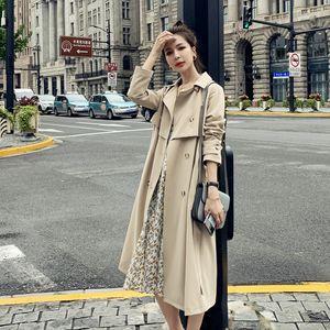 Le donne casuale Trench nuovo colore doppio Outwear Fashion Sashes Ufficio Solid Appendiabiti design giacche lunghe di alta qualità