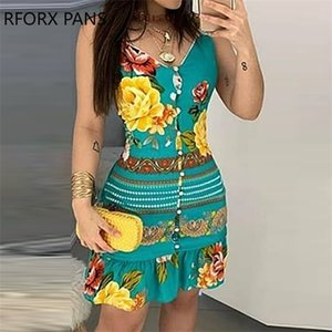 Women Elegant Fashion V-neck Bottoned Design Print Floral Mini Bodycon Dress 0924
