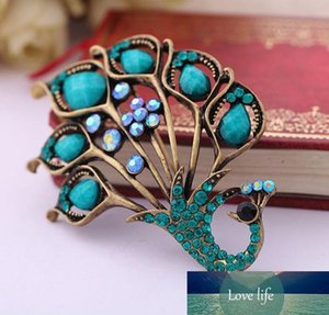 Wholesale- Top Quality Elegant Green Peacock Crystal Brooch Pin Natural Turquoies Stone Jewelry Accessoies For Women Men