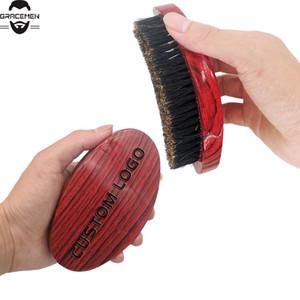 MOQ 100 pcs personalizado LOGO Amazon Hot Sale 360 ° escova de cabelo Cerdas de onda Escova Boar para Fina e Normal Cabelo Curvo Aceno Militar